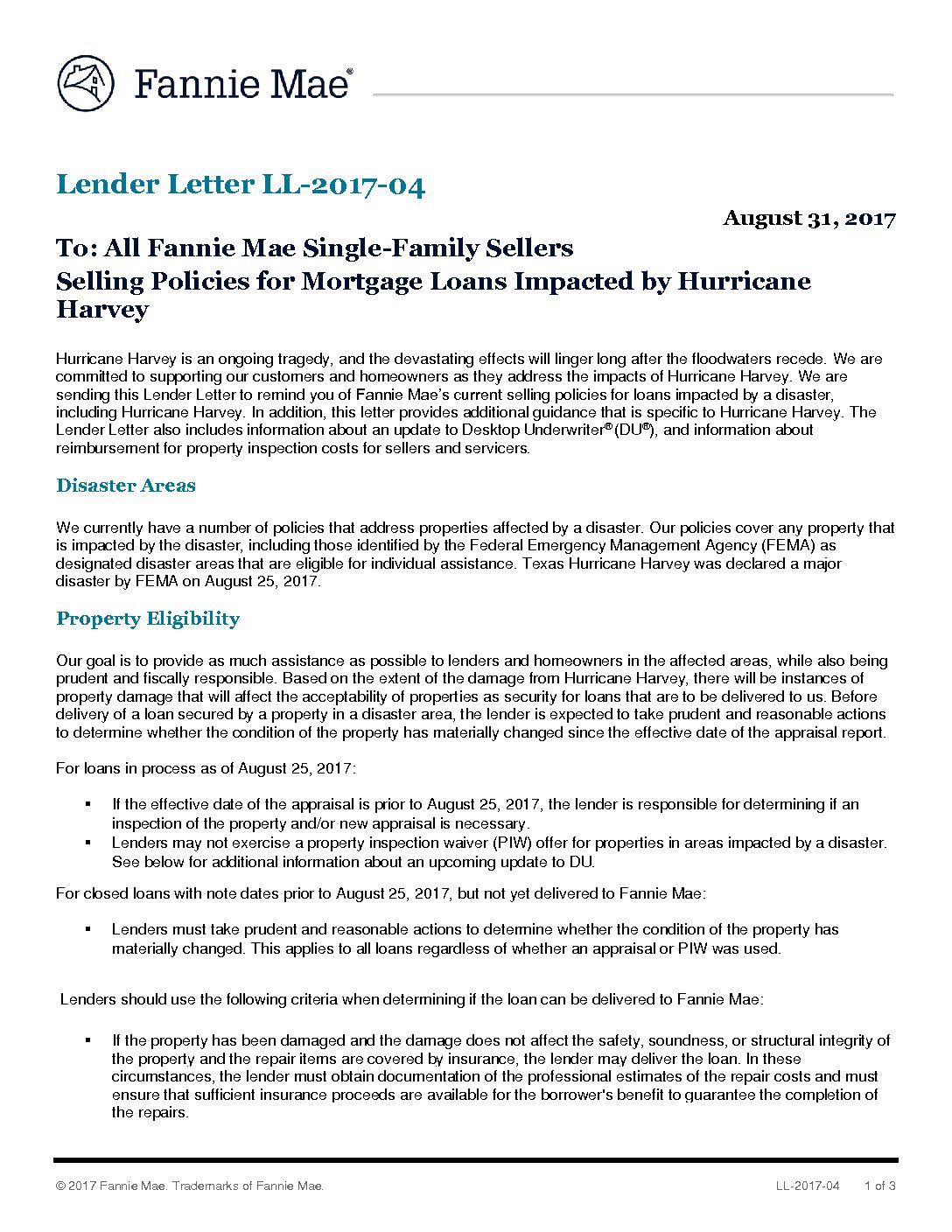 Click Here To View The Fannie Mae Lender Letter Tena