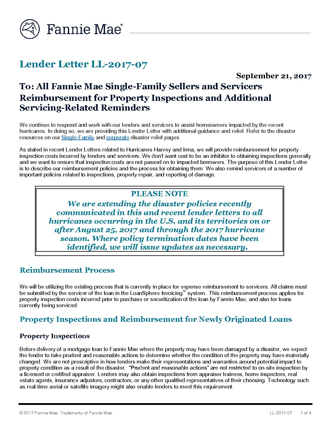 Click here to view the Fannie Mae Lender Letter - TENA