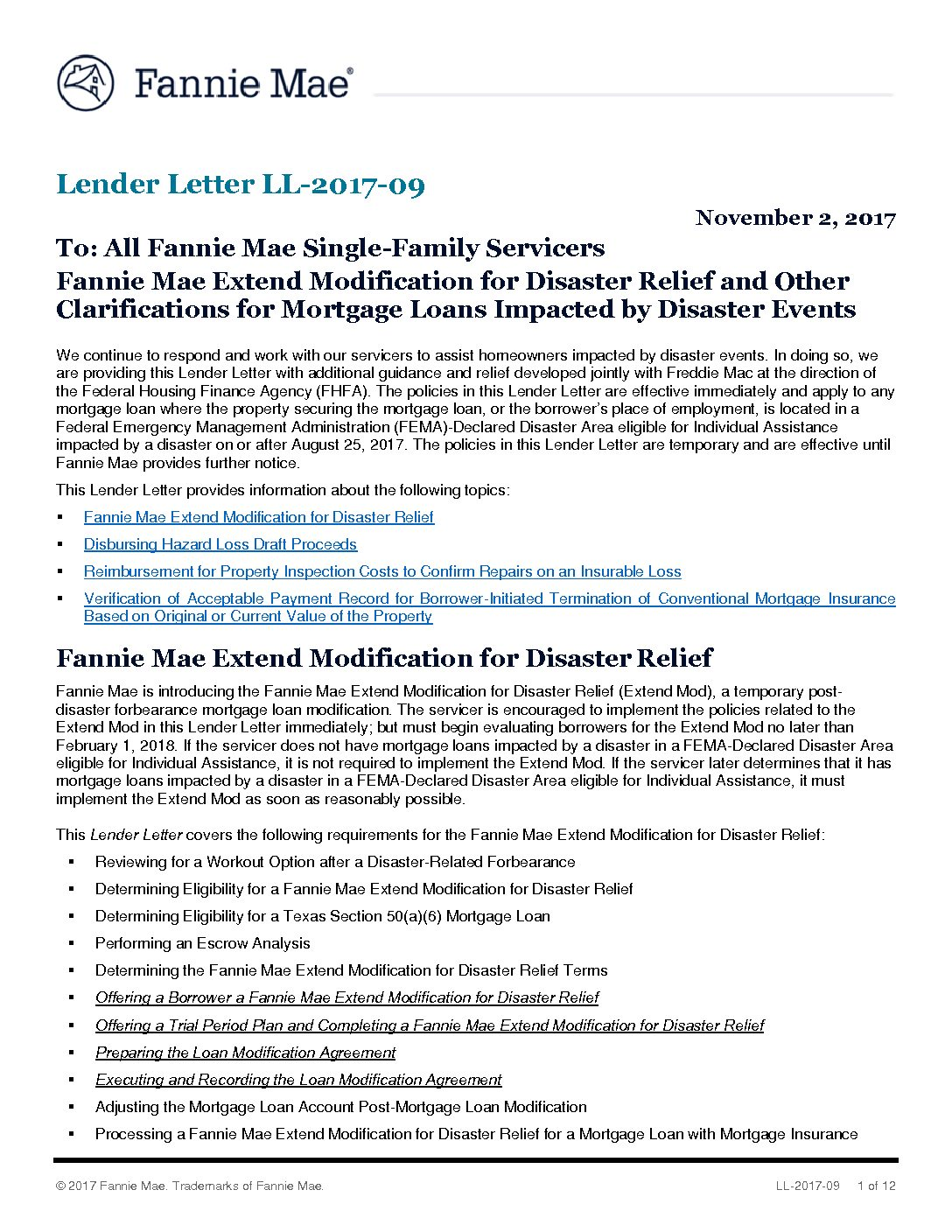 Click here to view the Fannie Mae Lender Letter LL-2017-09